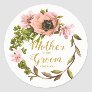 Pink Peony Wreath Mother of the Groom ID456 Classic Round Sticker