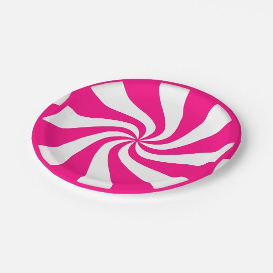 Pink Peppermint Candy Swirls Paper Plates