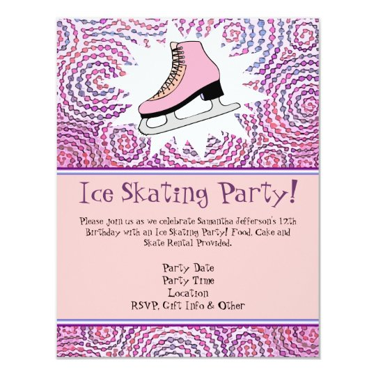 Pink Personalised Ice Skating Party Invitation