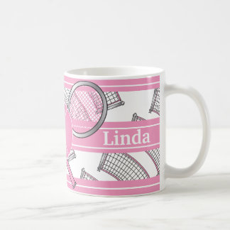 Pink Personalize Tennis Coffee Mug