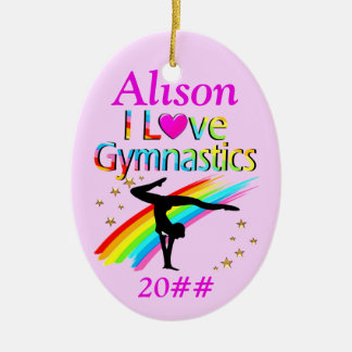 PINK PERSONALIZED AND DATED GYMNASTICS ORNAMENT