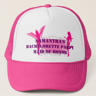 Pink personalized bachelorette party trucker hat