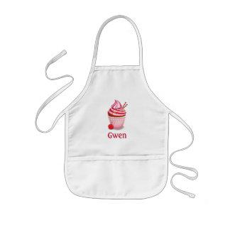 Pink personalized cupcake baking apron - children