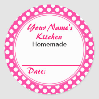 Pink Personalized Gifts for Bakers Custom Name Classic Round Sticker