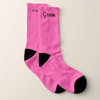 Pink Personalized Groom Wedding Socks