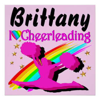 PINK PERSONALIZED I LOVE CHEERLEADING POSTER