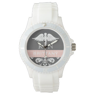 PINK PERSONALIZED NURSE RN CADUCEUS CHALKBOARD WATCH