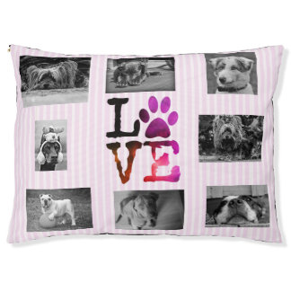 Pink Personalized Photo Paw Love Dog Bed