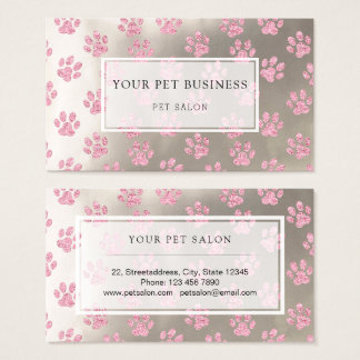 pink pet paw prints on silver pet salon business card