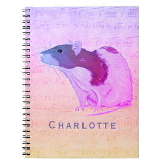 Pink Pet Rat Add Your Name Rat Spiral Notebook