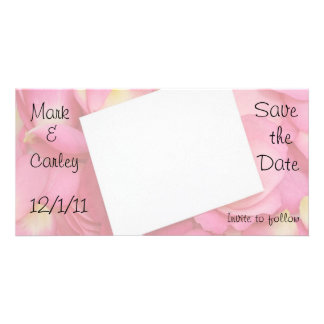 Pink Petal Save the Date Photo Card Template