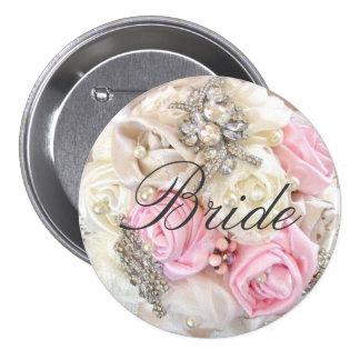 Pink Petals Pearls Bride Pinback Button