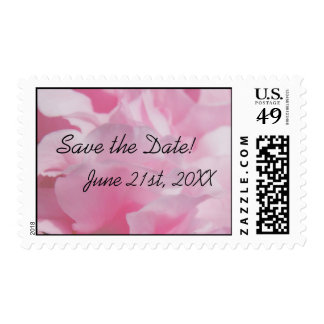 "Pink Petals ""Save the Date"" Postage Stamps"