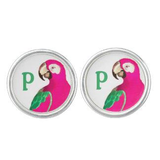 Pink Petey Parrot Custom Cufflinks