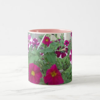 Pink Petunias Two-Tone Coffee Mug