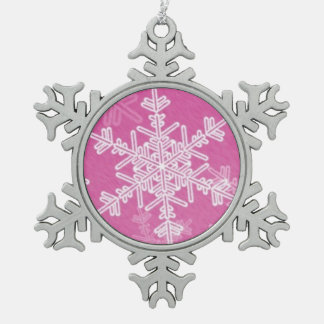Pink Pewter Snowflake Ornament