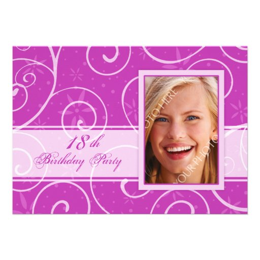 Pink Photo 18th Birthday Party Invitation Cards