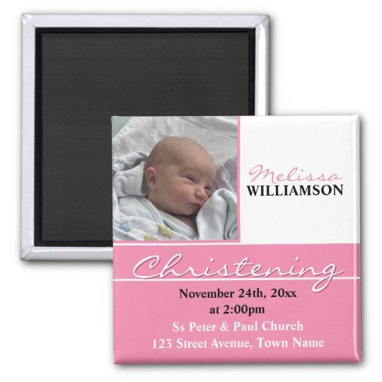 Pink Photo Christening or Baptism Invitation Square Magnet