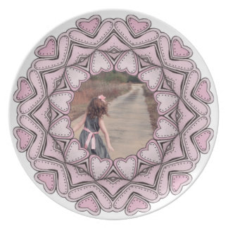 pink photo frame with hearts dinner plate