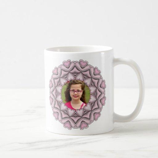 pink photo frame with hearts mug