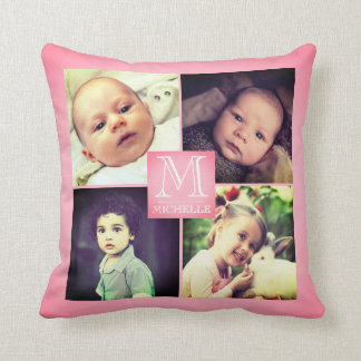 Pink photo girly monogramed collage cushion