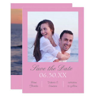 Pink Photo Vertical - Save the Date Card
