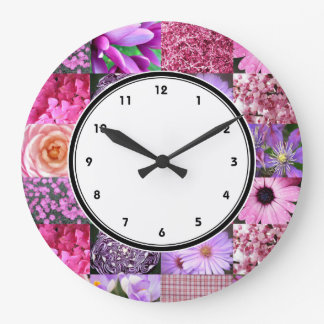 Pink Photography Collage wall clock with numbers