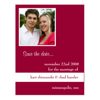 Pink pic save the date postcard