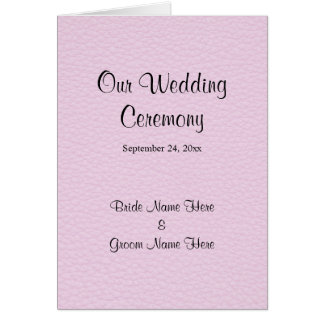 Pink Picture of Leather, Wedding Program Card