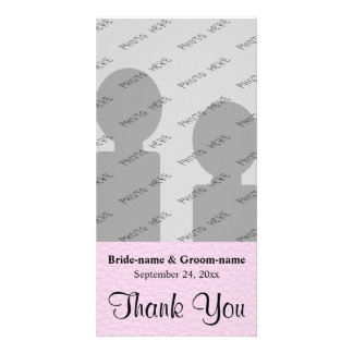 Pink Picture of Leather, Wedding Thank You Photo Card