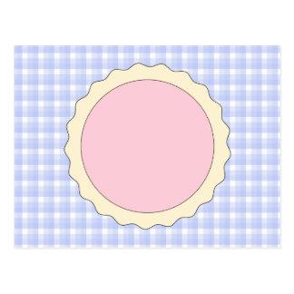 Pink Pie. Strawberry Tart. Blue check. Postcard