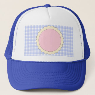 Pink Pie. Strawberry Tart. Blue check. Trucker Hat