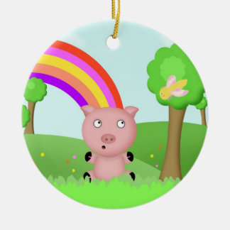 Pink Pig and Furry Moth Playing in Colorful Fields Round Ceramic Decoration