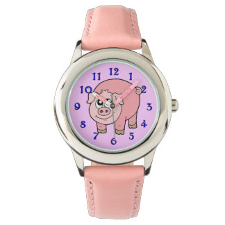 Pink Pig Cartoon Watch