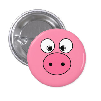 Pink Pig Face 3 Cm Round Badge