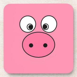 Pink Pig Face Coaster
