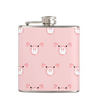 Pink Pig Face Pattern Hip Flask