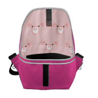 Pink Pig Face Pattern Courier Bags