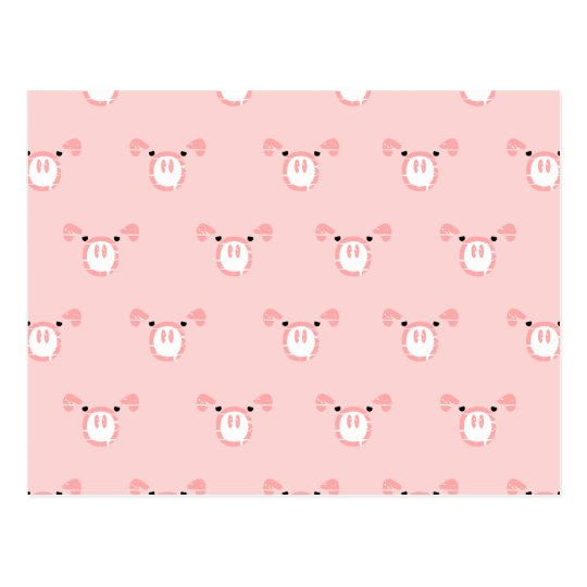 Pink Pig Face Repeating Pattern Postcard