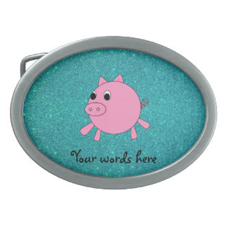 Pink pig faux turquoise glitter oval belt buckles