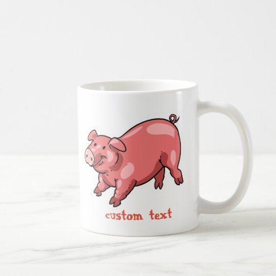 pink pig funny cartoon customisable text coffee mug