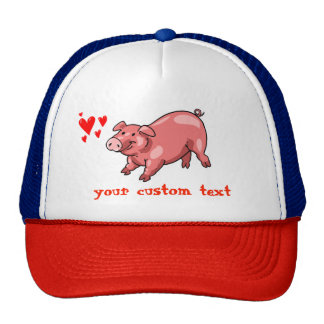 pink pig funny cartoon customizable text cap