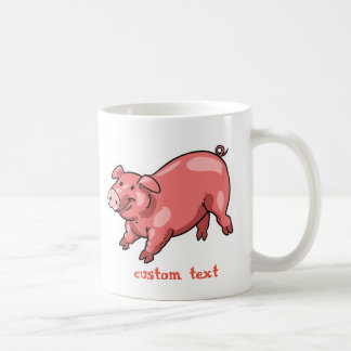 pink pig funny cartoon customizable text coffee mug