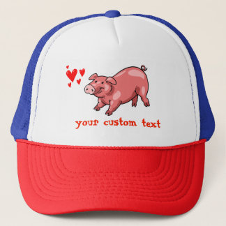 pink pig funny cartoon customizable text trucker hat
