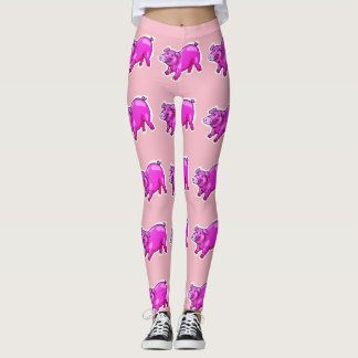 pink pig funny cartoon leggings