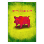 Pink Pig Greeting Card(customisable)
