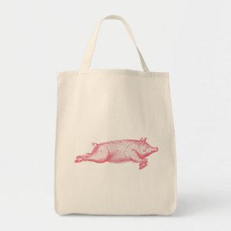Pink Pig Grocery Tote Bags