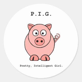 Pink Pig Humor Classic Round Sticker