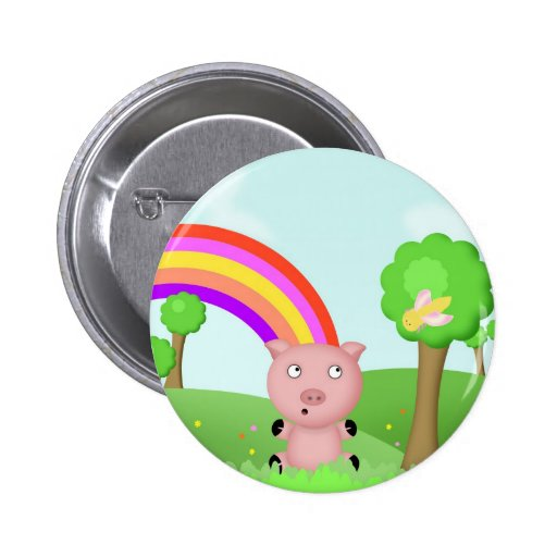 Pink Pig in Colourful Fields Button/Badge