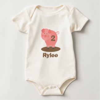 Pink Pig In Mud Birthday Shirt